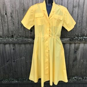 Vintage Yellow Shirt Dress 1980s Medium